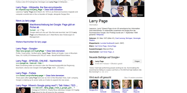 Knowledge Graph Ergebnis Larry Page