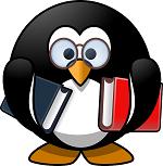 Pinguin mit Buch