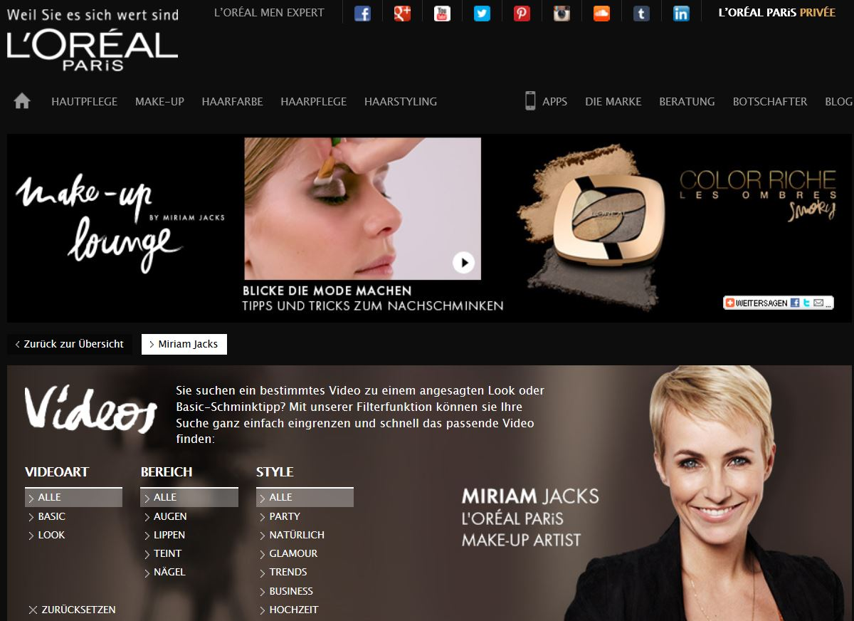 Content Marketing Beispiel L'Oreal