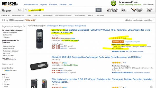Diktiergerät in der Amazon-Suche