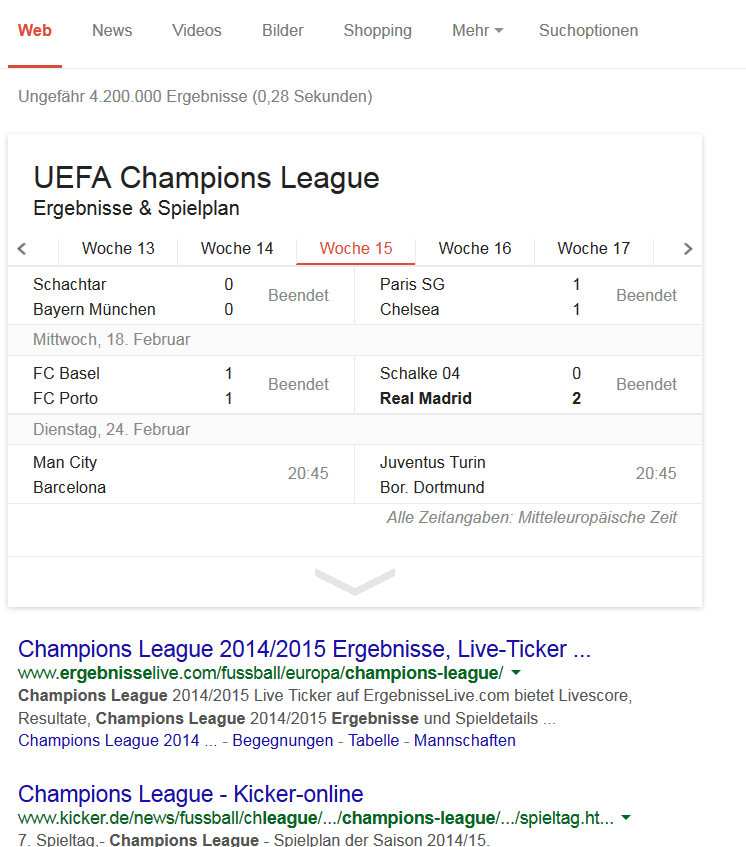 Google Antworten Champions League
