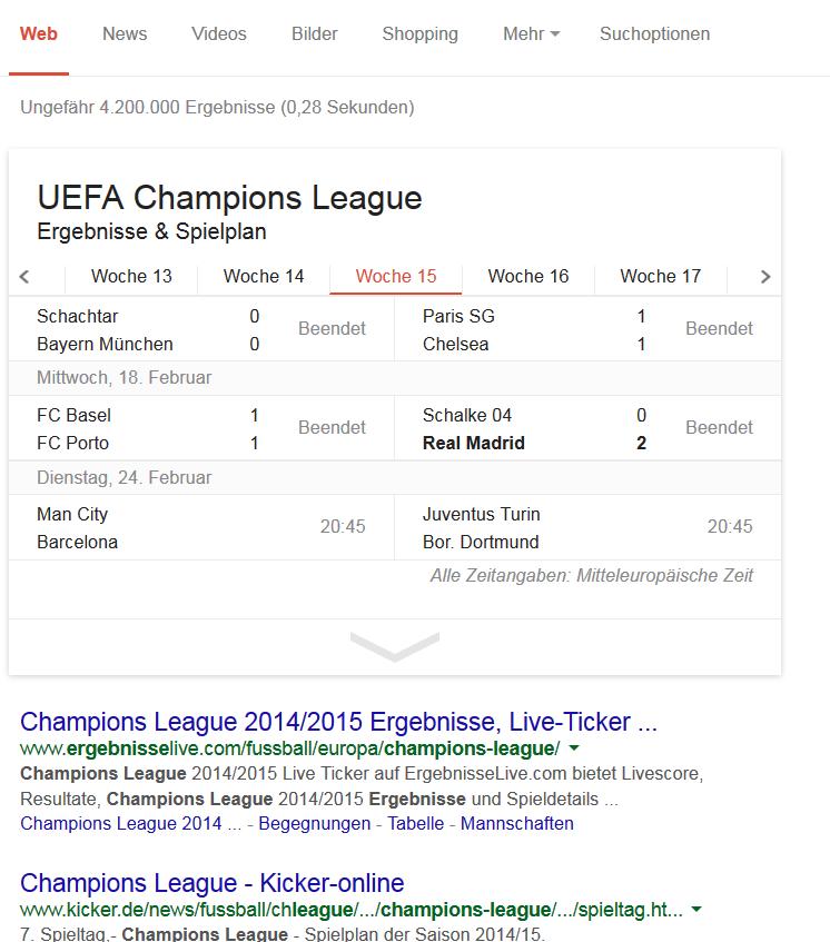 Google Antworten Champions League