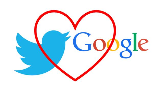 Google und Twitter in Love