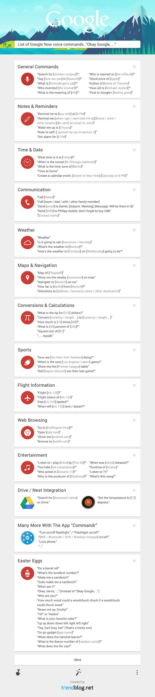 Liste Google Now Befehle