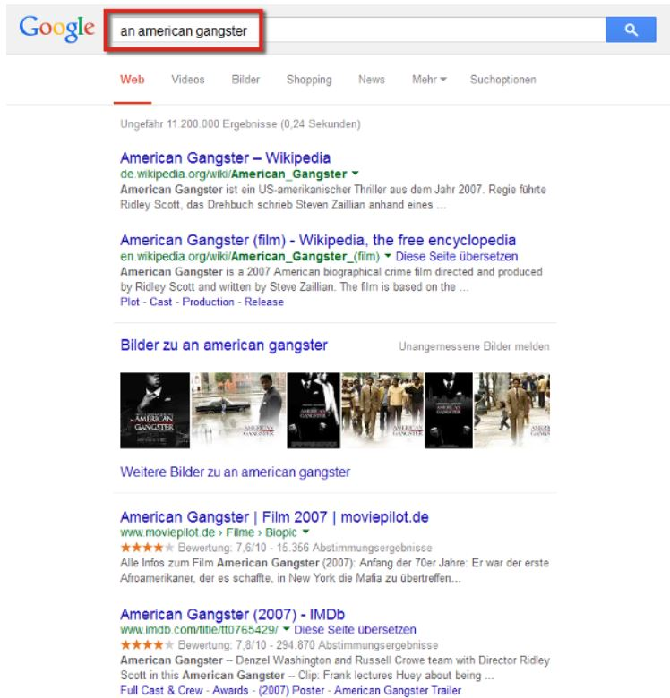 Screenshot SEOlytics Knowledge Graph American Gangster 2