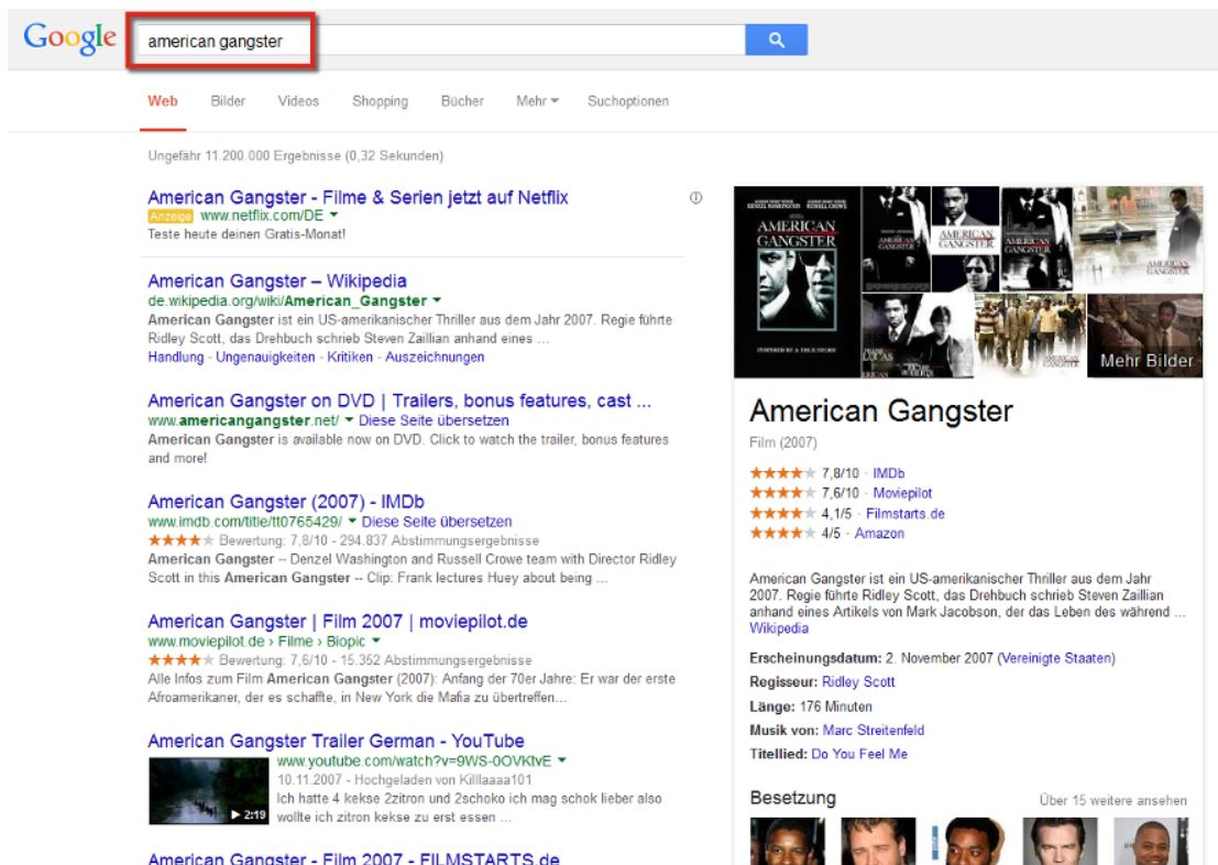 Screenshot SEOlytics Knowledge Graph American Gangster