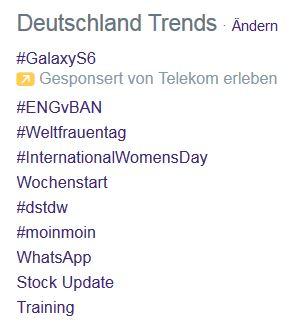 Screenshot Twitter Trending Topics Deutschland