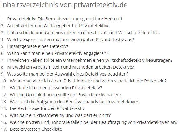 Inhaltsverzeichnis Privatdetektiv