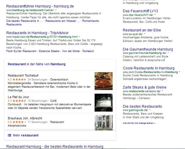 Suchanfrage Restaurant Hamburg