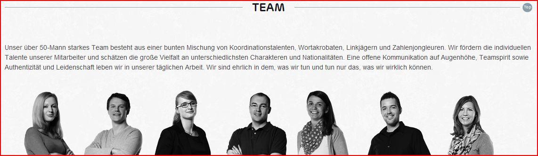 Beispiel Team Seite