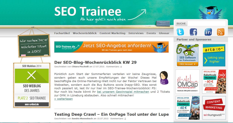 Das Frontend von SEO-Trainee.de
