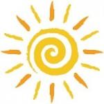Gelb-orange, handgezeichnete Spiralensonne – Vektor/freigestel