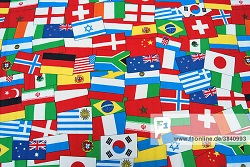 International flags, global, many
