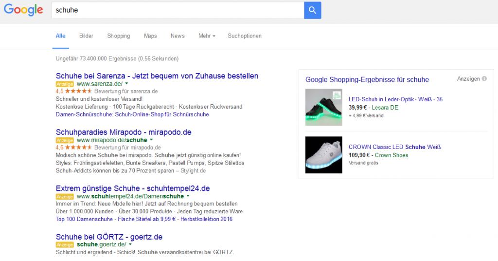 """Google-Anzeigen zur Suchanfrage """"Schuhe"""""""