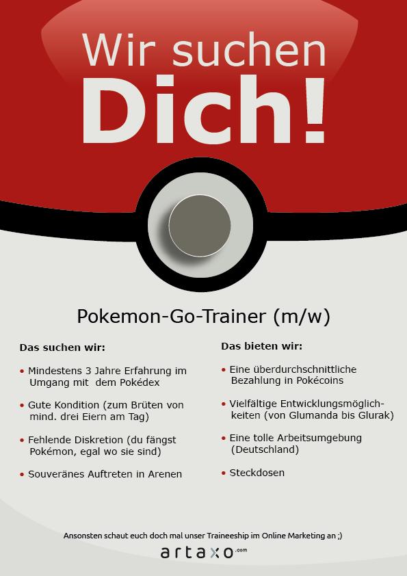 pokemon go anzeige ad werbung stelle trainer job beruf
