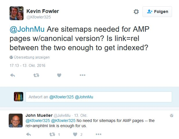 AMP-Inhalte Screenshot