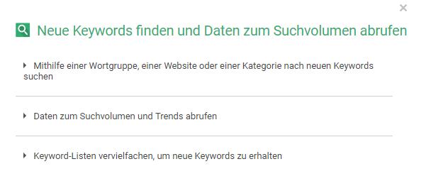 keyword planer funktion