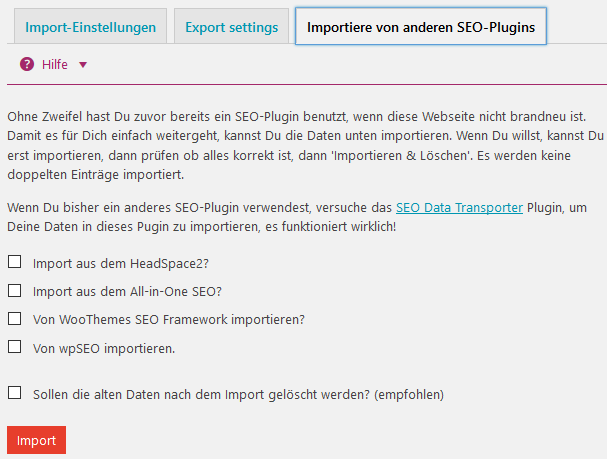 Settings von WordPress SEO Plugins importieren