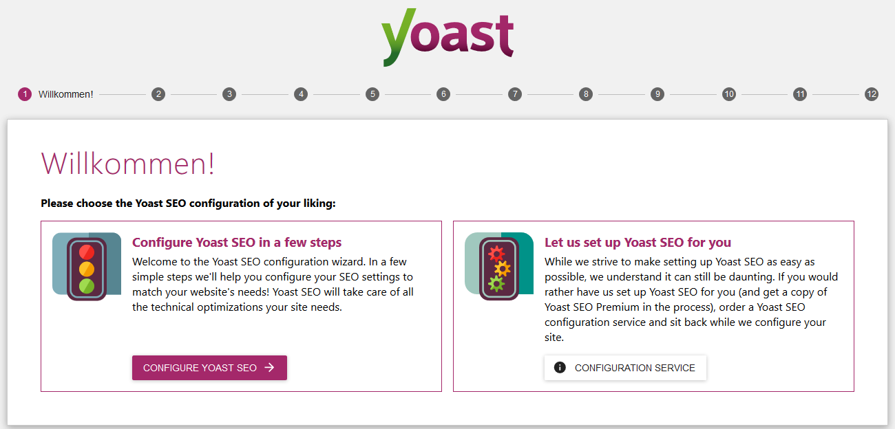 Yoast SEO Konfigurationsassitent