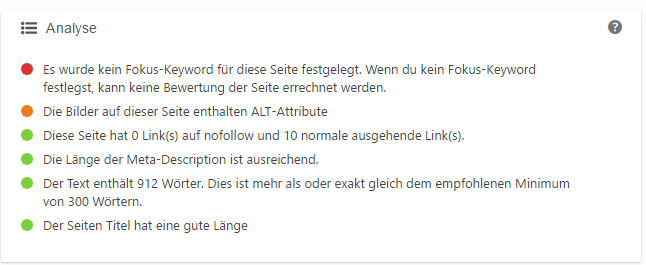 Onpage Analyse in der Meta-Box