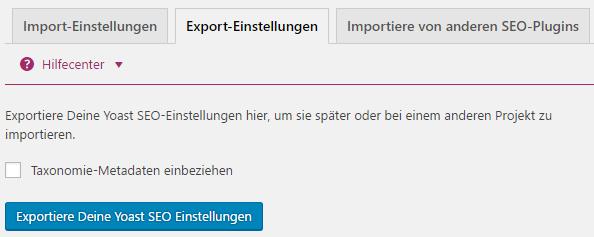 Yoast SEO Settings exportieren