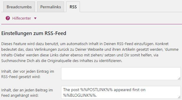 Einstellungen zum RSS-Feed