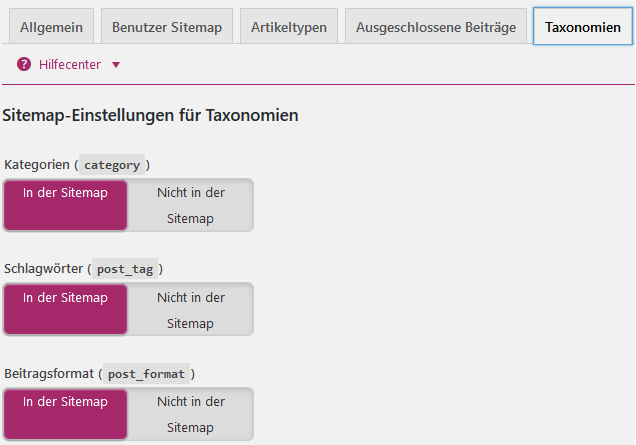 Sitemap-Einstellungen für Taxonomien