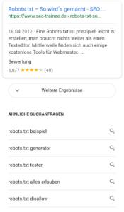 """Screenshot von Googles """"Weitere Ergebnisse""""-Button"""