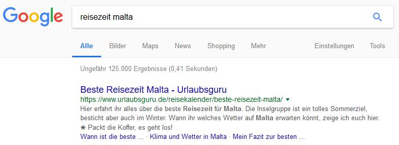 """Snippet Urlaubsguru zum Keyword """"Reisezeit Malta"""""""
