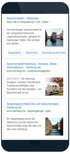 Screenshot von Thumbnails der Speicherstadt in der mobilen Suche