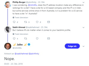 John Mueller beantwortet Fragen zu IP-Adressen auf Twitter.