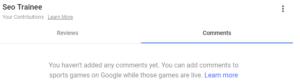Kommentarseite im Googlemail-Konto von seo-trainee.de.