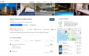 Hotelsuche auf dem Desktop bei Google