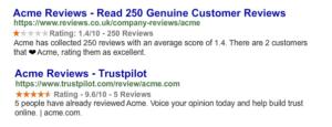 SERP-Snippets von Kundenbewertungsseiten