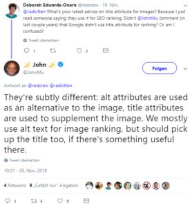 Screenshot von Twitter: John Mueller reagiert auf Fragen.