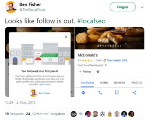 Screenshot von Twitter, Ben Fisher über den Follow Button bei Google Maps.