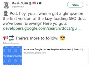 Screenshot von Twitter, Martin Splitt über Lazy Loading.