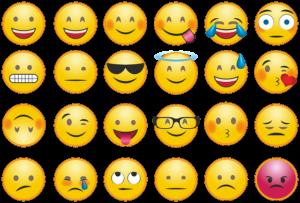 Bild von verschiedenen Smileys mit unterschiedlicher Gefühlslage.