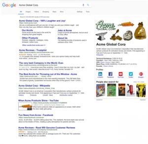 Marken-Suchergebnisseite inklusive Knowledge Graph Panel