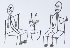Comic-Darstellung einer Interview-Situation zwischen Google Webmaster John Müller und Will Critchlow auf der SearchLove London conference - Copyright des Bildes liegt bei Moz