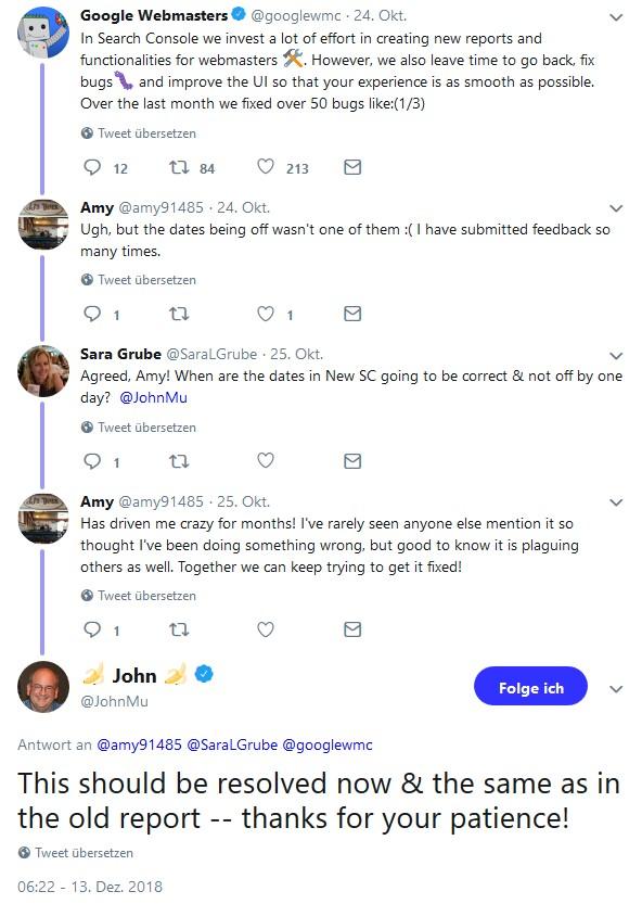 Screenshot einer Unterhaltung auf Twitter. John Müller bestätigt, dass die Berichte der alten und der neuen Search Console jetzt wieder zeitlich gleich laufen sollten.