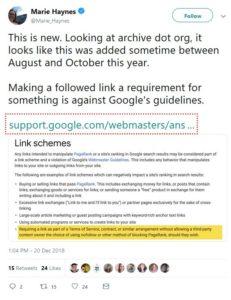 Twitter-Statement von Marie Haynes zu den aktuellen Erweiterungen der Google-Richtlinien