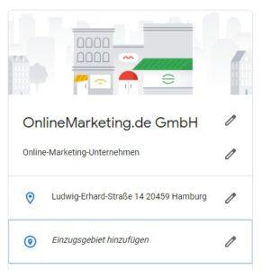 Die Visualisierung des Einzugsgebiets in Google My Business
