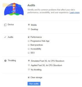 Die unterschiedlichen Audits-Einstellungen von den Chrome DevTools