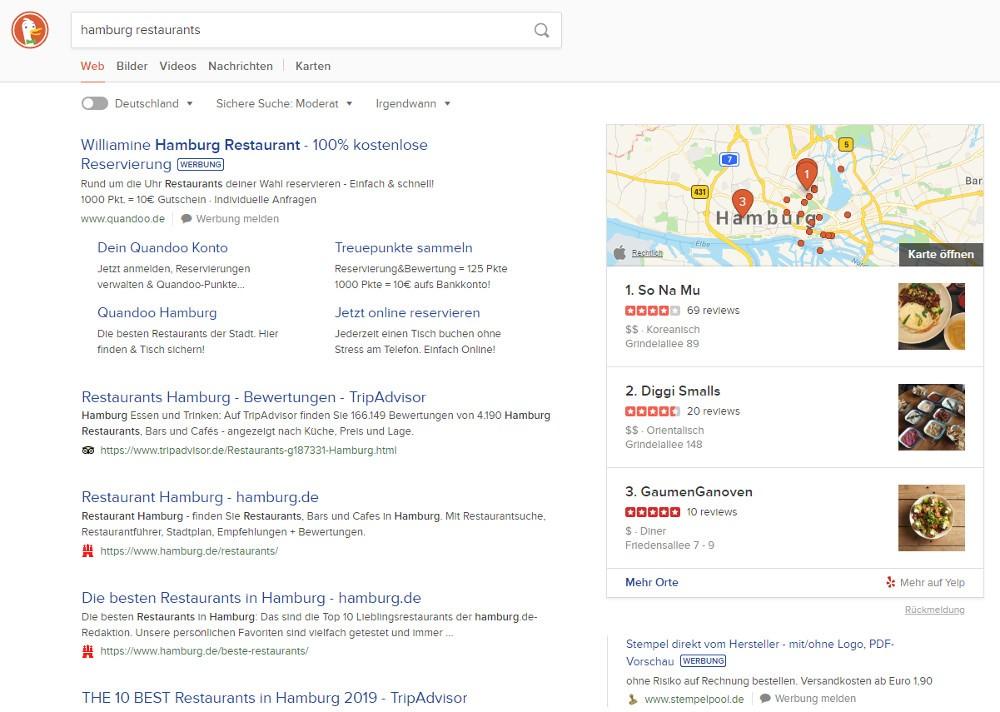 Neue Darstellung der Suchergebnisse von DuckDuckGo mit integrierter Kartentechnologie