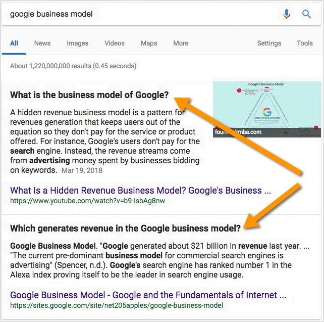 Google Suchergebnis mit Follow-up-Frage