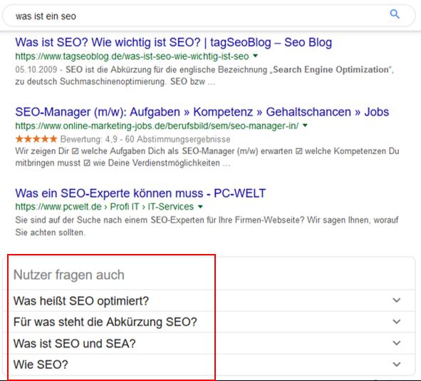 Googles Nutzer fragen auch Funktion