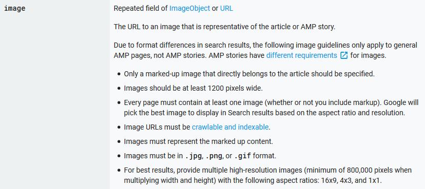 Mindestanforderungen an Bilder auf AMP-Seiten