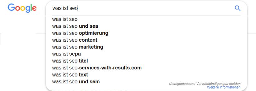 Grundsätzliche Funktion von Google Suggest