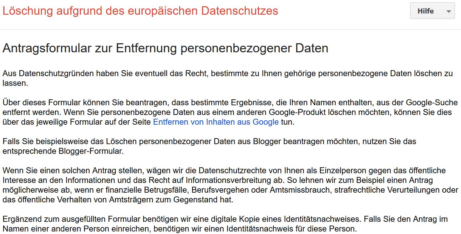 Informationen zum Antragsformular zur Entfernung personenbezogener Daten aus Google